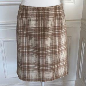 Eddie Bauer Cream and Tan Wool Blend Skirt